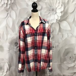 Old Navy Red/White/Blue Button Flannel Shirt XL